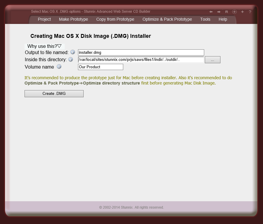 'Create disk image (.DMG file) for Mac OS X' tool